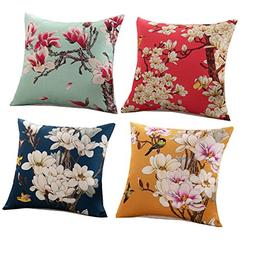 TOP MADE 4 Packs Decorative Cushion Covers Sofa Pillowcase C
