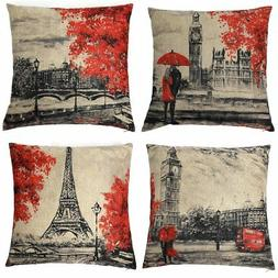 Kate 4 Packs Throw Pillow Covers 18 x 18 Inches Black & Red