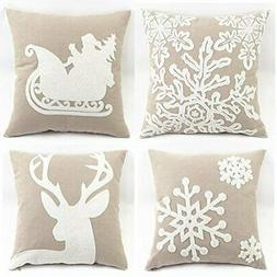 """WOMHOPE 4 Pcs - 18"""" Canvas Cotton Embroidery Throw Covers Ch"""