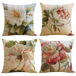 WOMHOPE 4 Pcs Pink & Blue Flower Throw Pillow Covers Cases C