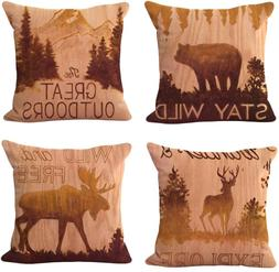 WOMHOPE 4 Pcs Rustic Throw Pillow Covers Square Cushion Pill