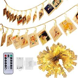 40 Photo Clips String Lights, Adecorty Battery Operated Stri