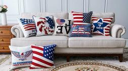 4th of July Independence Day Embroidery Throw Pillow Covers