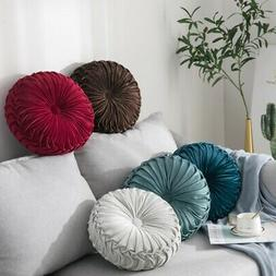 5 Colors Velvet Pleated Round Pillow Couch Cushion Floor Pil