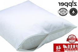 6 NEW WHITE BED BUG ZIPPERED PILLOW PROTECTORS PILLOW COVERS
