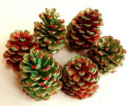 6 Painted PINE CONES 3 Red 3 Green with Gold GLITTER  3-3 1/