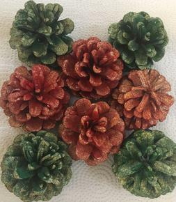 8 PINE CONES 4 Red 4 Green with Gold GLITTER Medium 2 - 2 1/