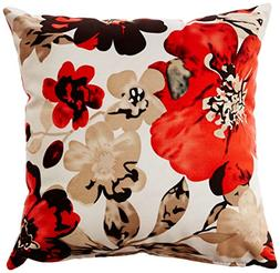 Cortesi Home Oppy Decorative Square Accent Pillow, Red Flowe