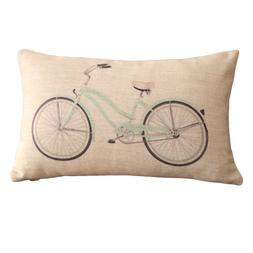 DECORLUTION Clear Bicycle Print Rectangular Throw Pillow Cov