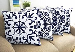 Floral Blue and White Howarmer® Cotton Canvas Decorative Th