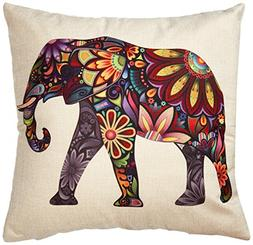 Generic Bright Color Flower Elephant Burlap Pillow Cases Cus