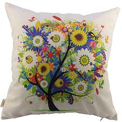 HOSL Flowers Tree Square Decorative Throw Pillow Case Cushio