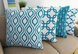 Howarmer Canvas Cotton Throw Pillows Cover for Couch Set of
