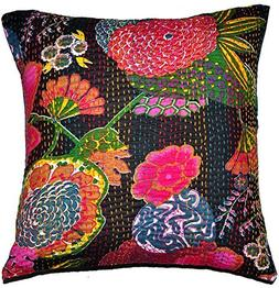 Indian Black Embroidered Handmade Decorative Kantha Pillow -