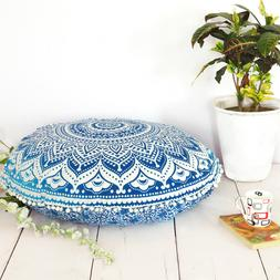 Indian Blue Ombre Throw Cover Decorative Floor Pillow Case C