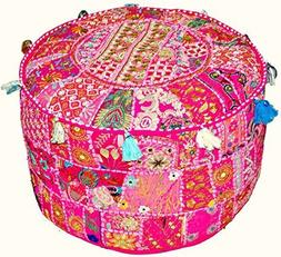 Indian Vintage Patchwork Ottoman Pouf , Indian Living Room P