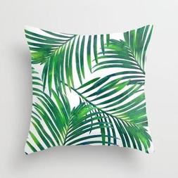 "New SOCIETY6  Green Palm Leaf Pattern THROW PILLOW 15"" X 15"""