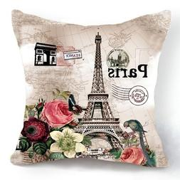 OJIA Retro Vintage Paris Eiffel Tower Home 18 X 18 Inch Cott