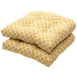 Pillow Perfect Indoor/Outdoor Yellow/White Geometric Wicker