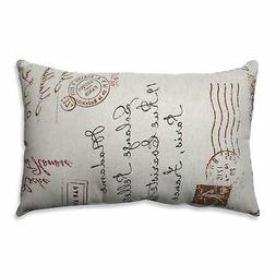 Pillow Perfect Linen/Red French Postale Rectangular Throw Pi