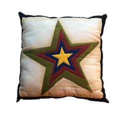 "Rustic STAR Primitive Patchwork Throw Pillow, 12"" x 12"""