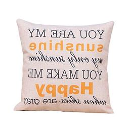 "SIXSTARS 18"" x 18"" Square Throw Pillow Case You Are My Sunsh"