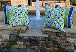 "Set of 4 - Indoor / Outdoor 20"" Square Decorative Throw / To"