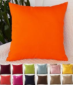 "TangDepot Cotton Solid Throw Pillow Covers, 18"" x 18"" , Oran"