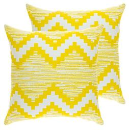 TreeWool,  Ikat Chevron Accent Throw Pillow Covers in Cotton