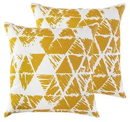 TreeWool,  Ikat Triangle Geometric Accent Throw Pillow Cover