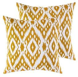 TreeWool,  Throw Pillow Covers Ikat Ogee Diamond Accent Deco