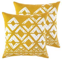 TreeWool 2 Pack Throw Pillow Covers Geometric Squares Accent