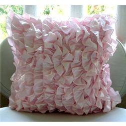 Soft Pink Pillows Cover, Vintage Style Ruffles Shabby Chic P