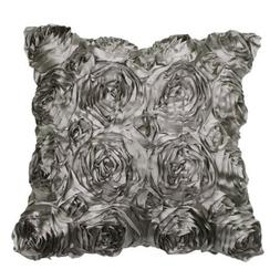 VivReal Grey Satin Rose Flower Square Pillow Cushion Pillowc