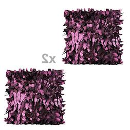 WOMHOPE 2 Pack - 3D Solid Satin Flower Leaves Square Throw C