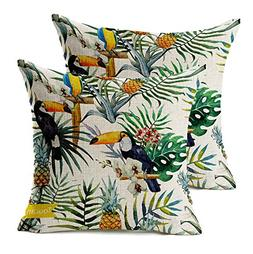 "WOMHOPE 2 Pcs - 18"" Tropical Forests Bird Printing Throw Cov"