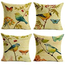 "WOMHOPE 4 Pcs - 17"" Bird On The Tree Accent Countryside Hand"