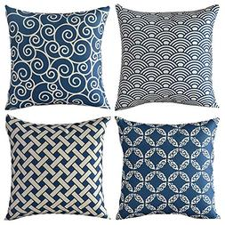 WOMHOPE 4 Pack Blue and Beige Throw Pillow Covers Cases Cott
