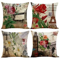 "WOMHOPE 4 Pcs - 17"" Building Flower Accent Countryside Style"