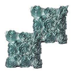 WOMHOPE Set Of 2 PC  - 3D Solid Color Satin Rose Flower Squa