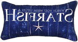 """Wish Upon a Starfish Navy Blue Throw Pillow 17"""" X 9"""" From Ma"""