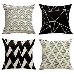 WOMHOPE 4 Pcs Black Geometric Throw Pillow Covers Cases Cott