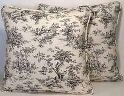 "A set of 2 18"" Central Park Black and Cream Toile P. Kaufman"