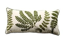 Creative Co-Op Accent Pillow with Fern Fronds Embroidery
