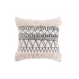 Ojia Accent Tribal Pillow Cover, Boho Decorative Black and W