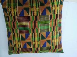 "African Kente Print Throw Pillows 18"" x 18""   100% Cotton"