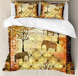 African Queen Size Duvet Cover Set by Ambesonne, Patchwork I