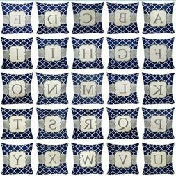 Alphabet Letter A-Z Monogram Throw PILLOW COVER Sofa Couch C