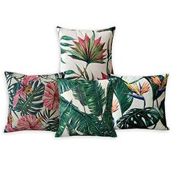 American Pillow Flamingoes and Palm Leaf Modern Art Cotton L