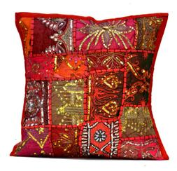 An Ethnic Embroidery Sequin Patchwork USA Throw Pillow Cushi